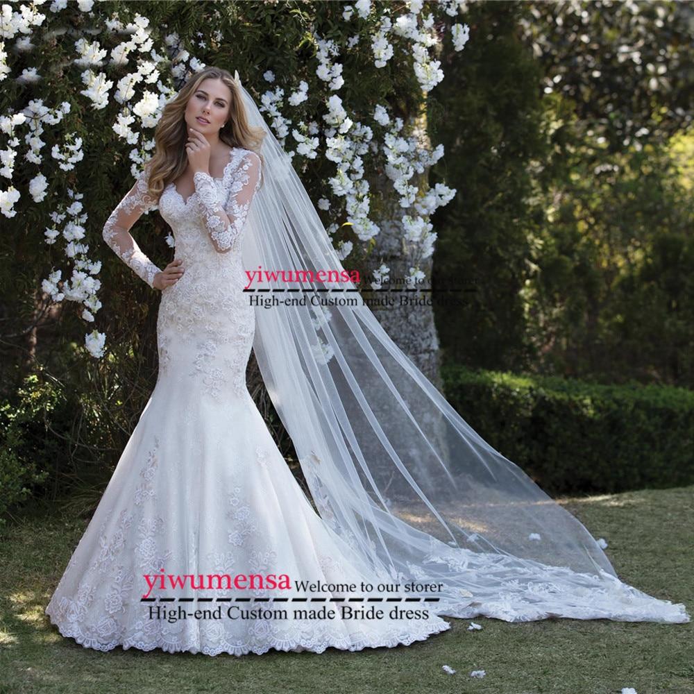 Vestidos De Novia 2019 Wedding Gowns Appliques Sexy Mermaid Plus Size Wedding Dress Custom Made Robe Mariee Lace Wedding Dresses