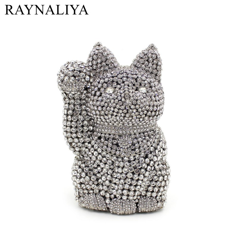 Crystal Fortune Luck Cat Shape Women Gold Evening Bag Wedding Party Metal Clutches Purses Bridal Diamond Clutch Bag SMYZH-E0202