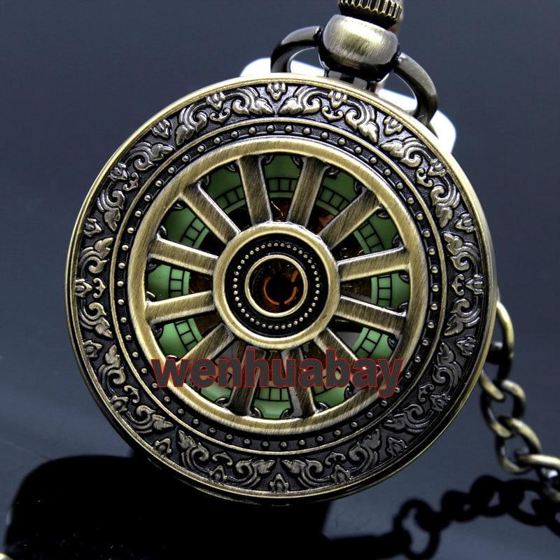 Classical Bronze Openwork Pendant Necklace Luminous Mechanical FOB Pocket Watch Hour Gift P250 DE
