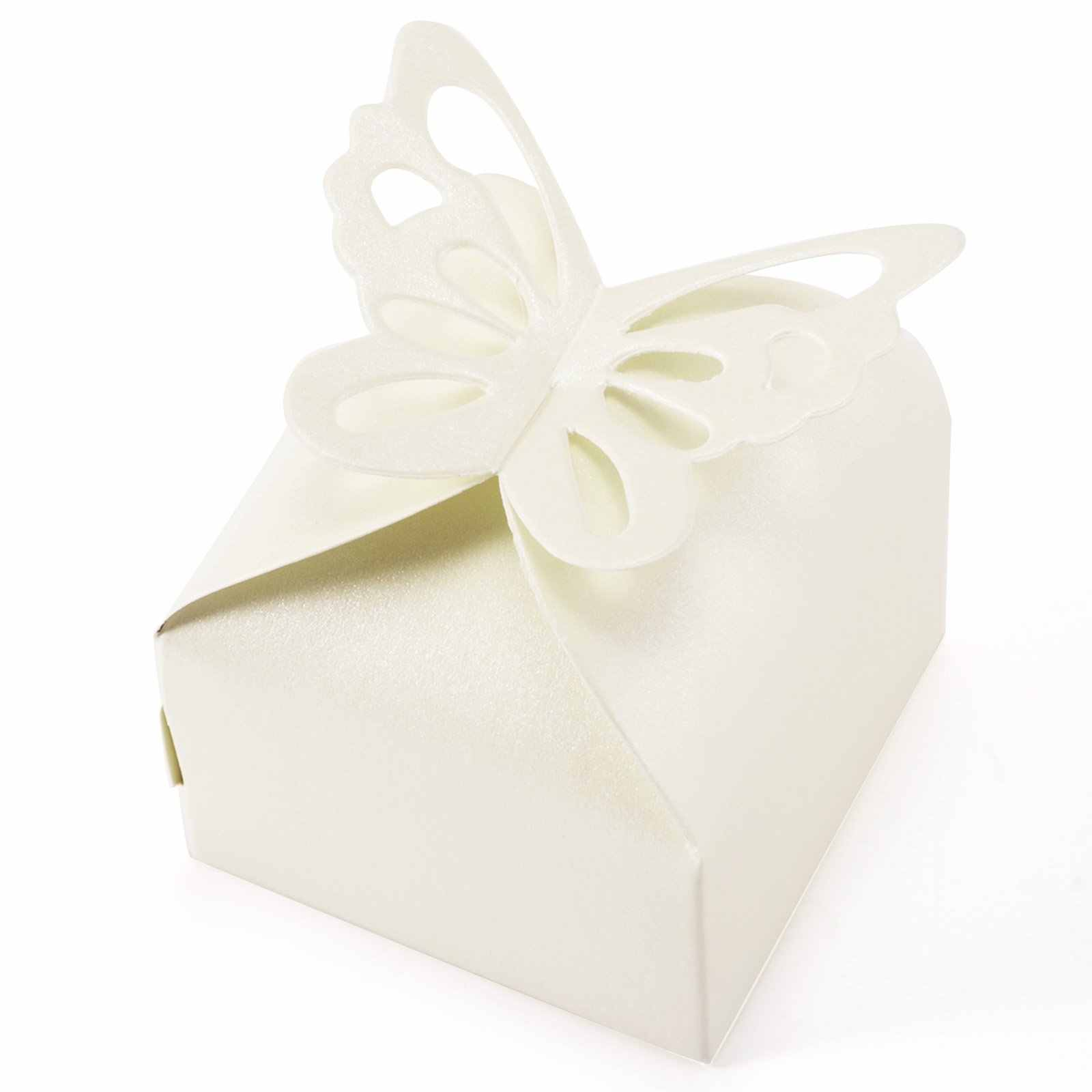 50 шт. бабочка украшения Драже коробка для Свадебные украшения крещение рождения ivoire