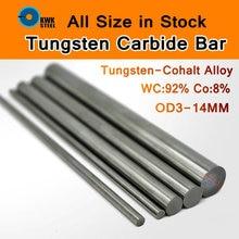 Barra de aço de tungstênio cemente haste de carboneto de tungstênio liga de cohalt wc co hastes yl10.2 yg8 iso k30 diy molde cnc barras redondas comprimento 330mm