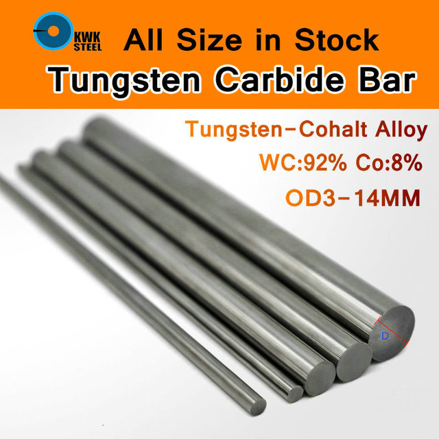Tungsten Steel Bar Cemente Carbide Rod Tungsten-cohalt Alloy WC Co Rods YL10.2 YG8 ISO K30 DIY Mould CNC Round Bars Length 330mm