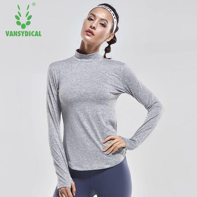 Vansydical Women Yoga Shirts Long Sleeve Gym Running Workout T Shirt Thumb Hole Design Fitness Training Sports Tops Sportswear