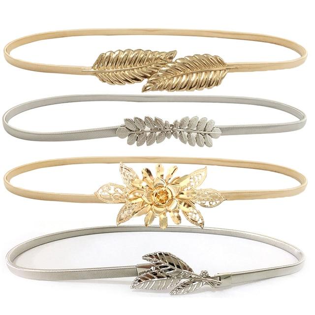 Flower leaves metal buckle belt for dresses women ladies elastic waist chain belts female gold thin belts fashion 2018 waistband