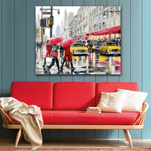 DIY colorings pictures by numbers with colors Rainy street side scenery picture drawing painting framed Home