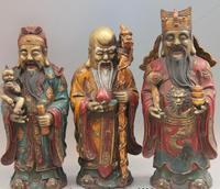 Китайский старая бронза Цвет роспись Fukurokuju звезды три Lucky Для мужчин Бог Будда набор