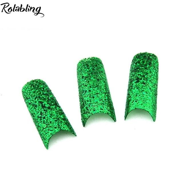 Diseño de moda 70 UNIDS/LOTE Glitter uñas punta Verde Glitter ...