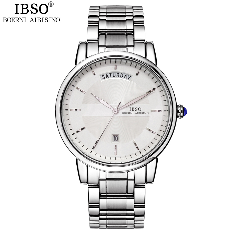 IBSO Calendar Business Mens Watches 2017 Top Brand Luxury Stainless Steel Quartz Watch Display Clock Men Reloj Hombre cadisen top new mens watches top brand luxury complete calendar 3atm sport watches for men clock stainless steel horloges mannen