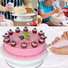 Facemile torta de la placa giratoria rotatorio de la torta sugarcraft decoración soporte plataforma giradiscos giradiscos herramientas de la hornada 03106