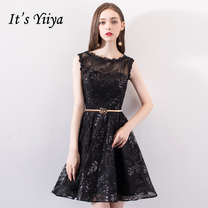 It's YiiYa   Prom     Dress   Black Bling Sequins Embroidery Sleeveless Illusion Party   Dresses   O-neck Knee Length Formal Gowns E006