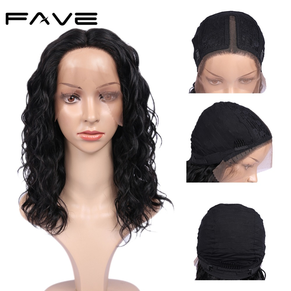 FAVE Hair Lace Front Wig Lace Middle Part Natural Wave 150% Brazilian Remy Human Hair Natural Hairline Breathable And Adjustable
