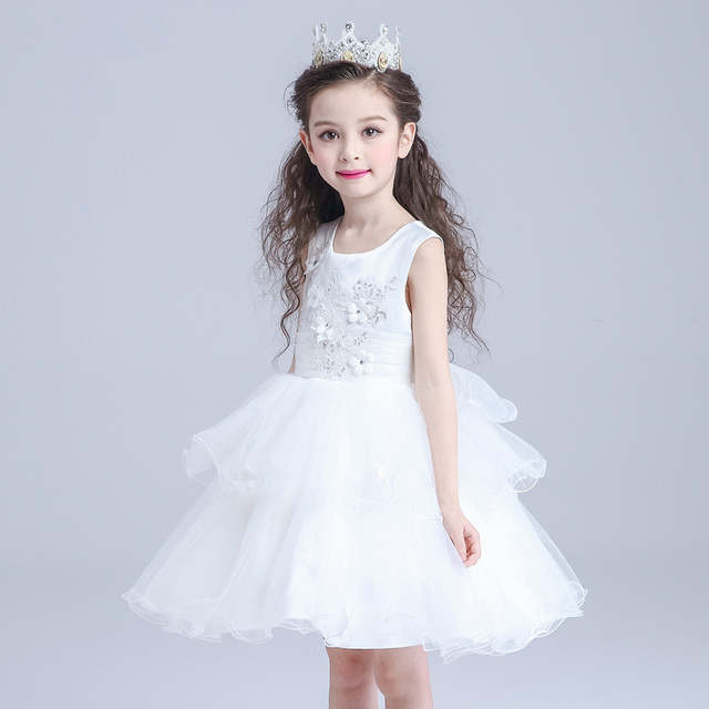 a85088ee0 placeholder White Girls Dress Layered Party Wear Flower Girl Vestido for  Wedding 2019 Girls Clothing 3 4