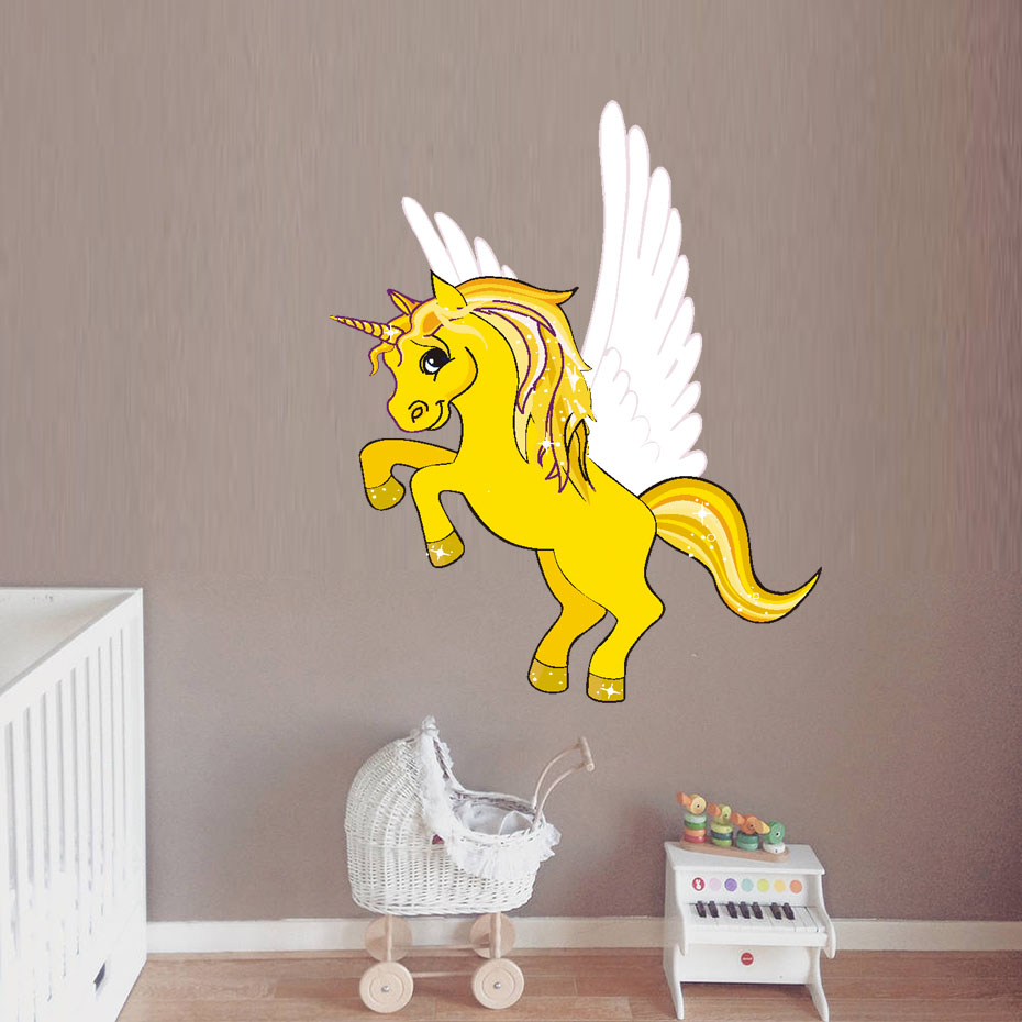 Magic Unicorn Wall Stickers Colorful Animals Yellow Horse Wall ...