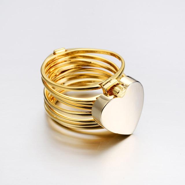 3049e425f6e8 Mujeres amor corazón telescópica de doble uso Chic anillo regalo oro rosa  oro plata CX17