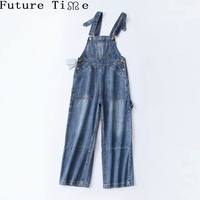 Future Time High Waist Women Overralls Pants Vintage Packets Denim Trousers 2018 New Female Baggy Long Pants Autumn
