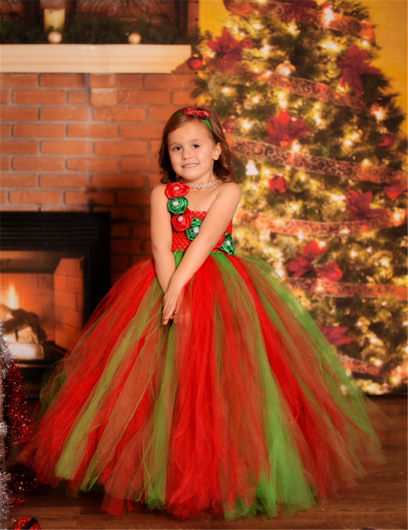 3948dd298b8a Detail Feedback Questions about Red Green Flower Girls Christmas ...