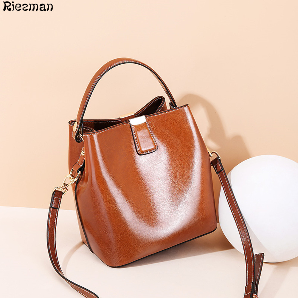 New Women Cowhide Leather Bucket Messenger Bag Oil Wax Cow Leather Shoulder Bags for Ladies Handbags Bolsa Feminina Small Purse New Women Cowhide Leather Bucket Messenger Bag Oil Wax Cow Leather Shoulder Bags for Ladies Handbags Bolsa Feminina Small Purse