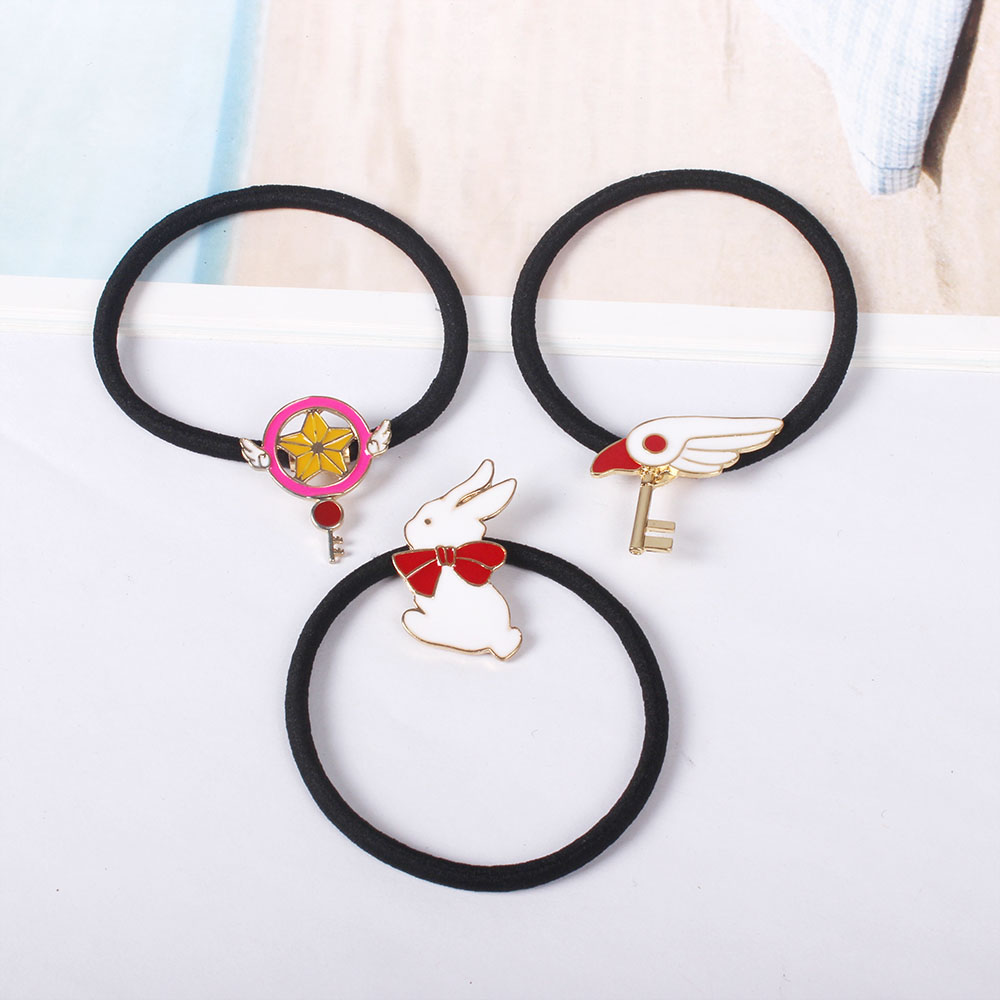 Japan cute cartoon comics enamel metal high quality decoration elastic hair  band for girls--star d852fd444d4