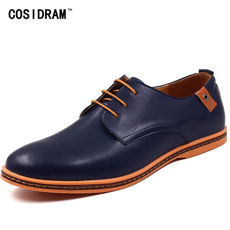 COSIDRAM Plus Size 47 48 Men Casual Shoes PU Leather Men Shoes Spring Autumn Male Footwear Fashion Rubber Sole RMC-058 spring autumn men loafers genuine leather casual men shoes fashion driving shoes moccasins flats gommino male footwear rmc 320
