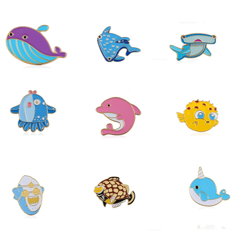 Brooches 1pcs Sea Cuties Pin Whale Shark Narwhal Octopus Puffer Fish Hard Enamel Pin Lapel Pin Brooches Badges Pinback Jewelry & Accessories