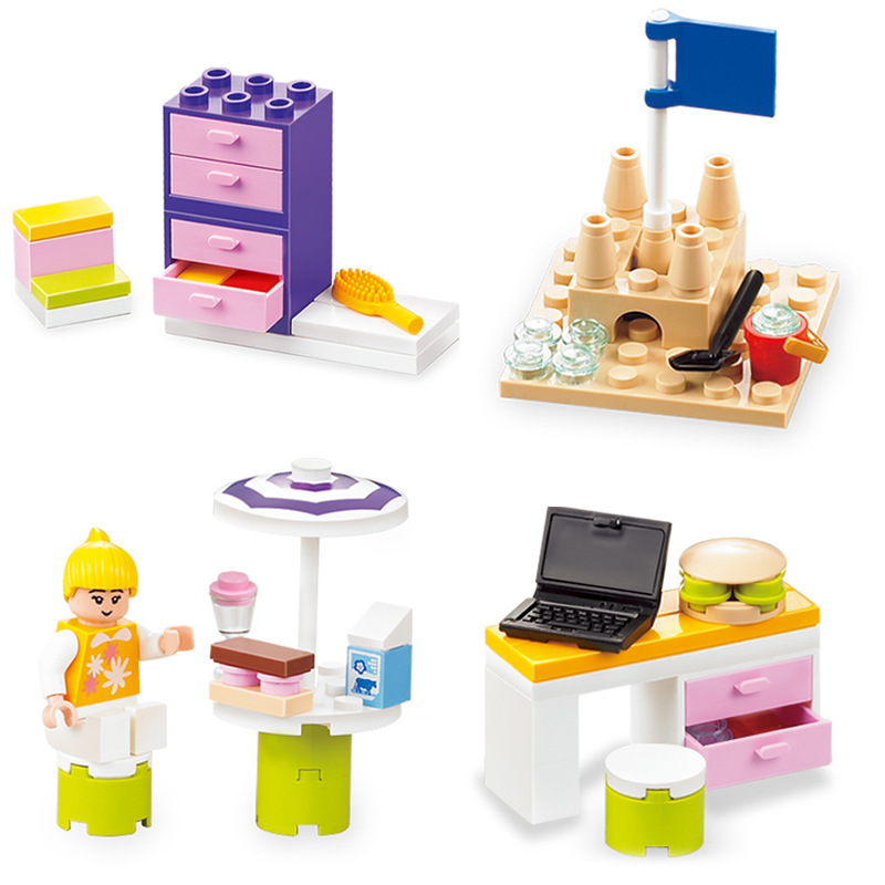 Hot 1pcs Girls Children's Pink 3-6-8-10 Years Old Assembled Building Blocks Toys Plastic Spelling Compatible GoingLy JM192