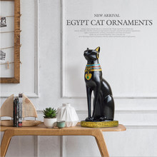 ERMAKOVA Resin Bastet Cat Crafts Egyptian Cat Figurine Animal Sculpture Home Office Desktop Decoration Gift(China)