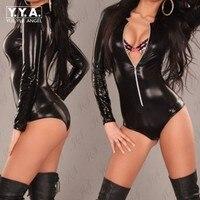 Hot Sale Sexy Ladies Bodysuit Women Long Sleeve Zipper Black Jumpsuits For Women 2017 Evening Club