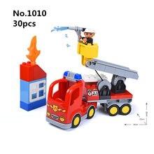 Tamanho grande Diy Blocos de Construção Caminhão de Bombeiros Bombeiro Figura Compatível com L Marca Duplo Brinquedos Educativos para Crianças Caçoa o Presente
