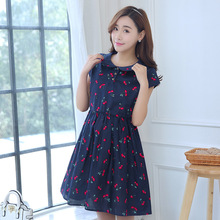 Maternity summer dress short sleeve cotton dresses for pregnant women long and large size maternity gowns