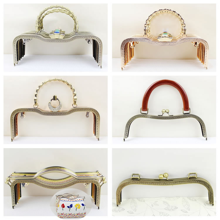 1 pcs 27 CM Size Metal Purse Frame Elegance O Bag Frame With Handle Alca De Bolsa Coin Purse Frame Hardware Strap Metal Frame