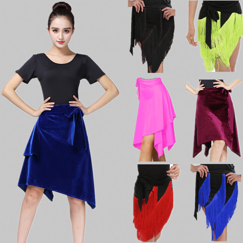 New Latin Hip Scarf Women Dance Skirt Tango Costume Sexy Rumba Samba One Piece Tassel Fringed Adult Apron Irregular Dance Skirt