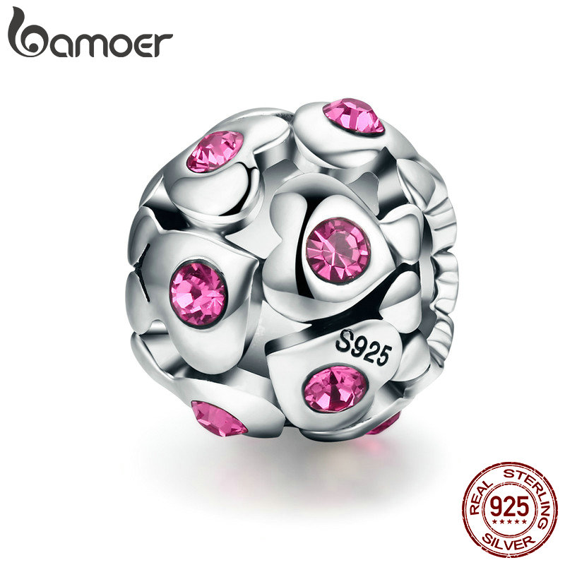 BAMOER Authentic 100% 925 Sterling Silver Heart Pink Crystal AAA Cubic Zircon Beads fit Charm Bracelet Valentine Day Gift SCC535 valentine s day petals heart pattern waterproof table cloth
