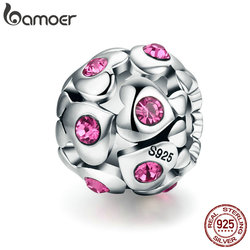 BAMOER Authentic 100% 925 Sterling Silver Heart Pink Crystal AAA Cubic Zircon Beads fit Charm Bracelet Valentine Day Gift SCC535