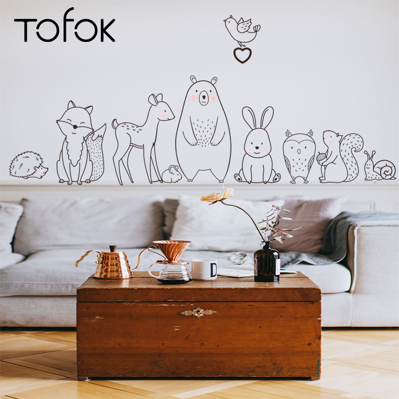 Tofok Wallpaper-Supply Wall-Sticker Adhesive Nursery-Decals Animal Fox Baby Home-Decor