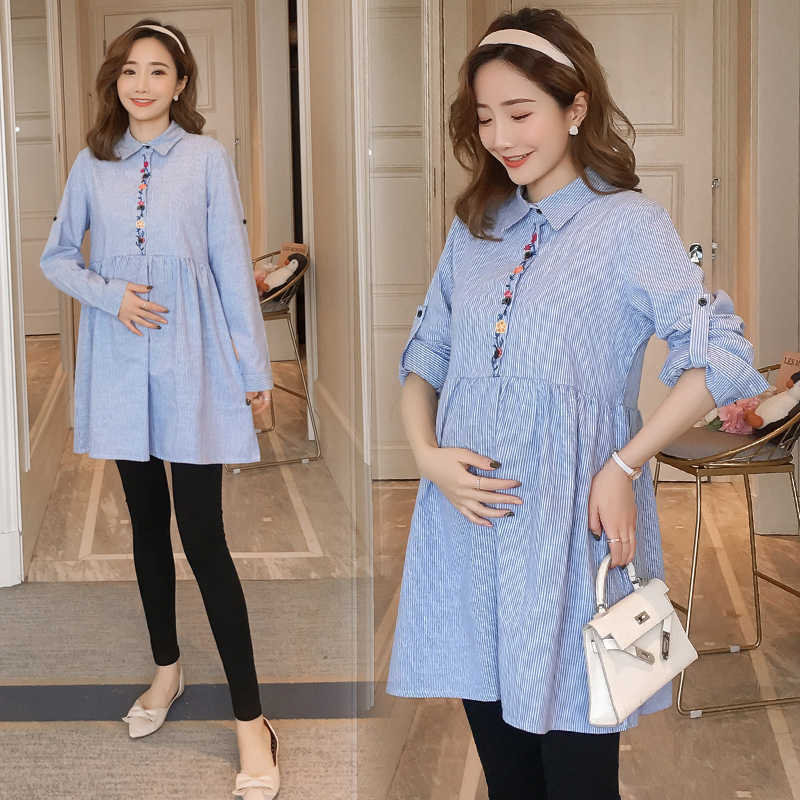 d9d9f52eb98 1922  Rolled Up Long Sleeve A Line Loose Maternity Blouses Spring Autumn  Fashion Shirt Clothes