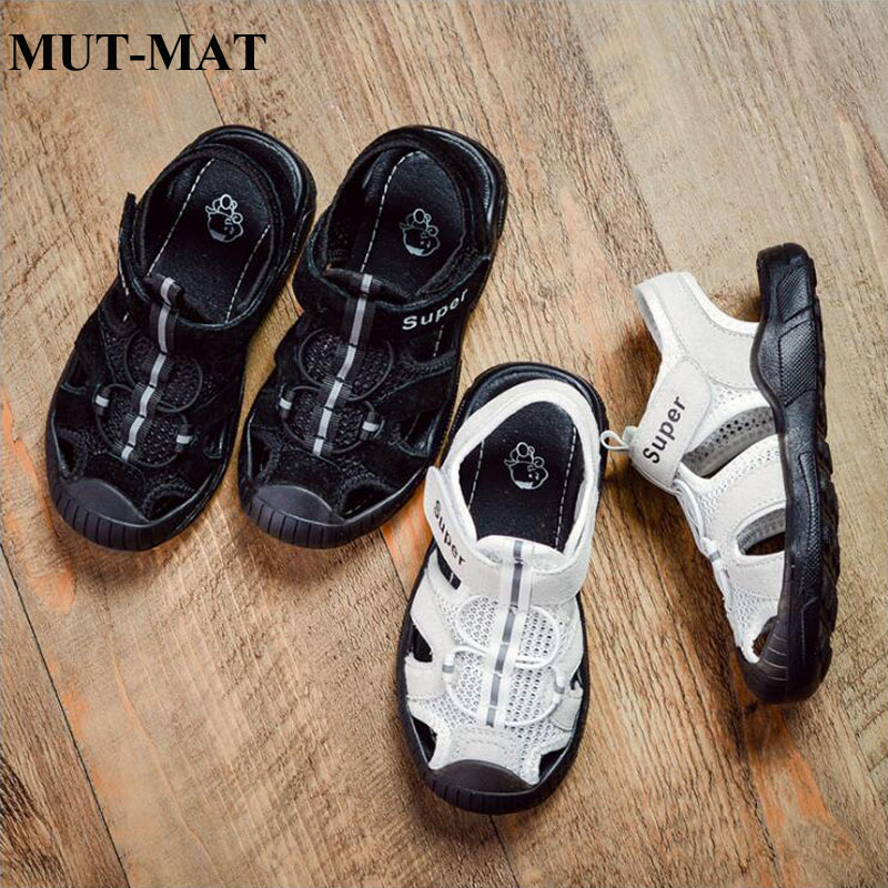 Children Leather Sandals 2019 Casual Trend Flying Woven Mesh Children's Shoes Boys And Girls Fashion Holiday  Beach Shoes