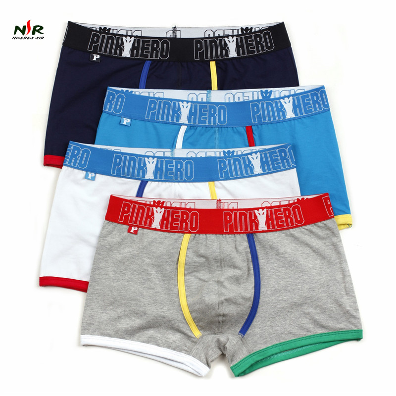 Hot Pink Heroes 4pcs/lot Men Boxers Underwear Fashion Color Cotton Boxer Mens Underwear Sexy Brand Men Underwear Boxer Shorts