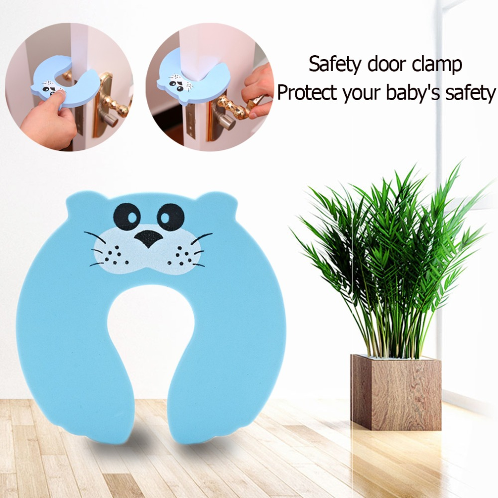 1Pcs Kids Baby Cartoon Animal Jammers Stop Door for Children Guards Door Stopper Holder lock Safety Finger Protector smiley face door window children safety lock band 2 pack set