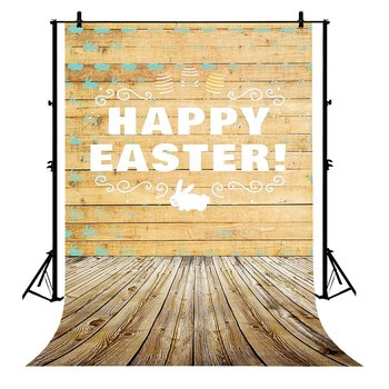 5x7ft Happy Easter Bunny Wood Plank Hardwood Floor Polyester Photo Background Portrait Backdrop