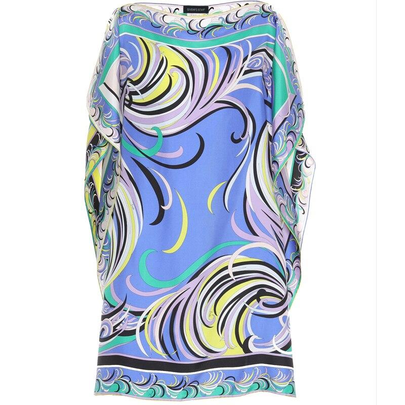 ผู้หญิงใหม่หลวมขนาดใหญ่ Batwing แขนแฟชั่นพิมพ์รอบคอผ้าไหมชุด jersey-ใน ชุดเดรส จาก เสื้อผ้าสตรี บน   3