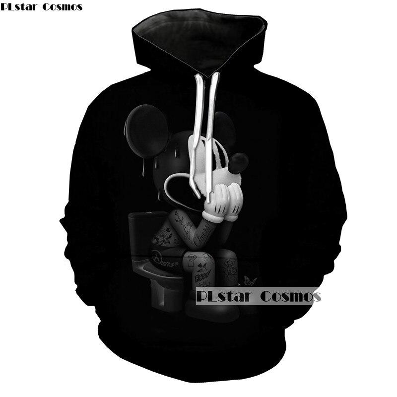PLstar Cosmos Pittura Felpe Donne/Uomini 3d Del Mouse Del Fumetto Pullover Con Cappuccio Divertente Streetwear di Autunno della Molla Felpa Dropship