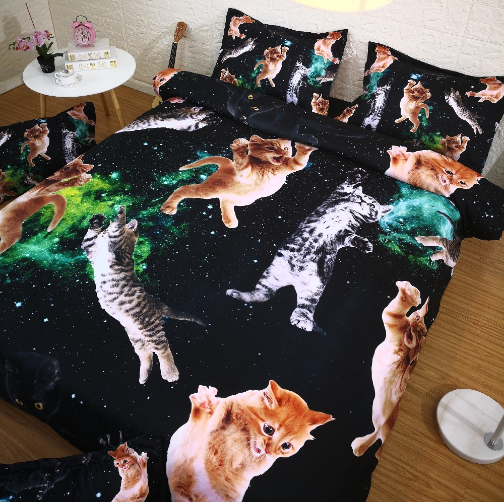 Black Space Cat 3 Piece Duvet Cover Set Digital 3D Bed Set ...