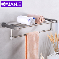 Bathroom Towel Holder Stainless Steel Towel Rack Hanging Holder Wall Mounted Single Towel Bar Bath Accessories Robe Corner Shelf