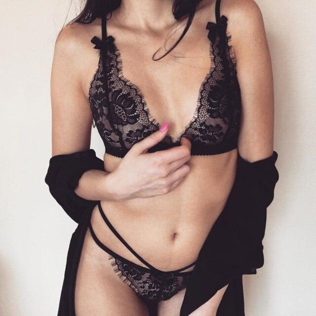 0c9c537e23 Sexy Thin Women Bra Set Transparent Lace Deep V Bralette Briefs Set Hollow  Out Bra Panties
