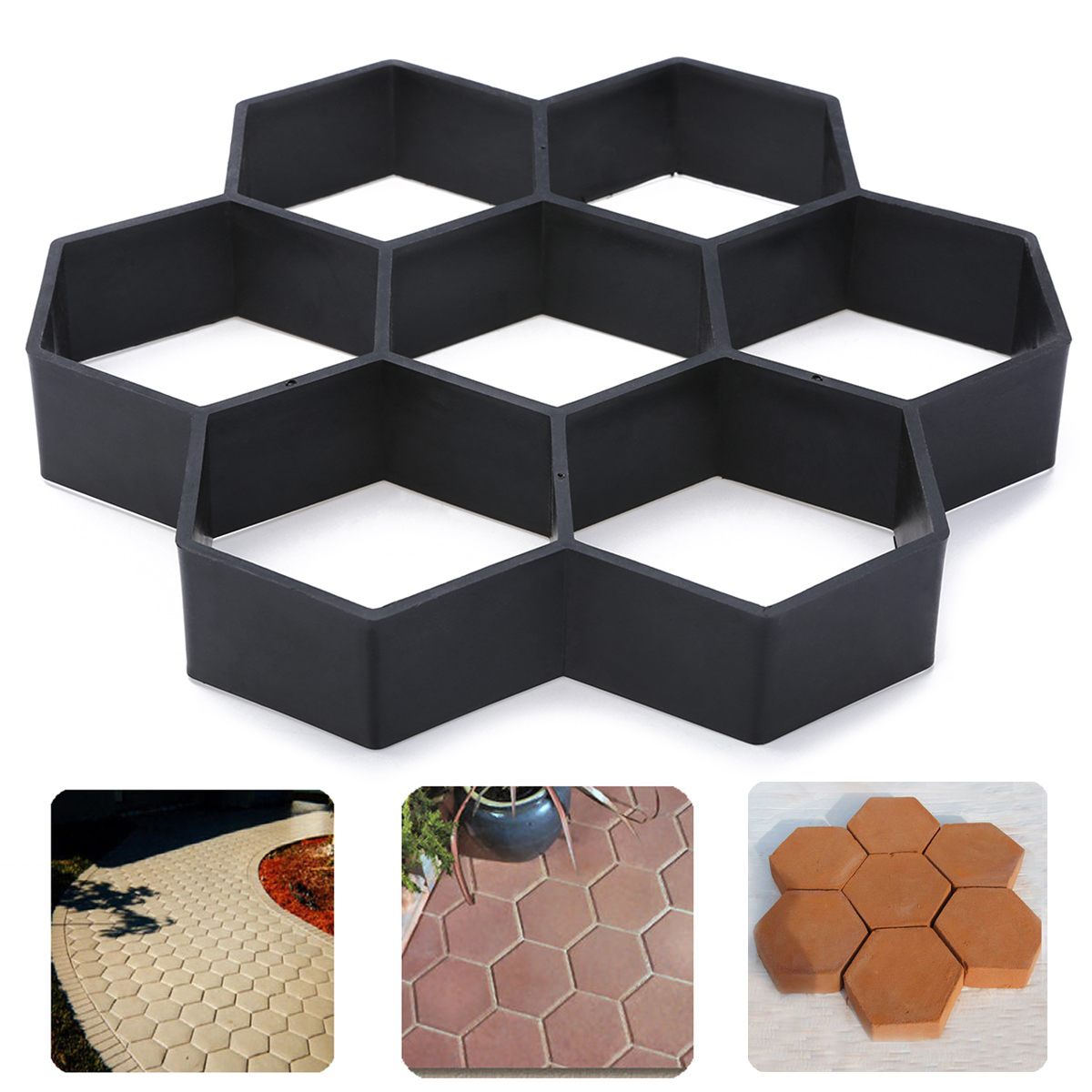 Black Plastic Driveway Paving Stone Mold Concrete Stepping Pathmate Pavement Mould Paver