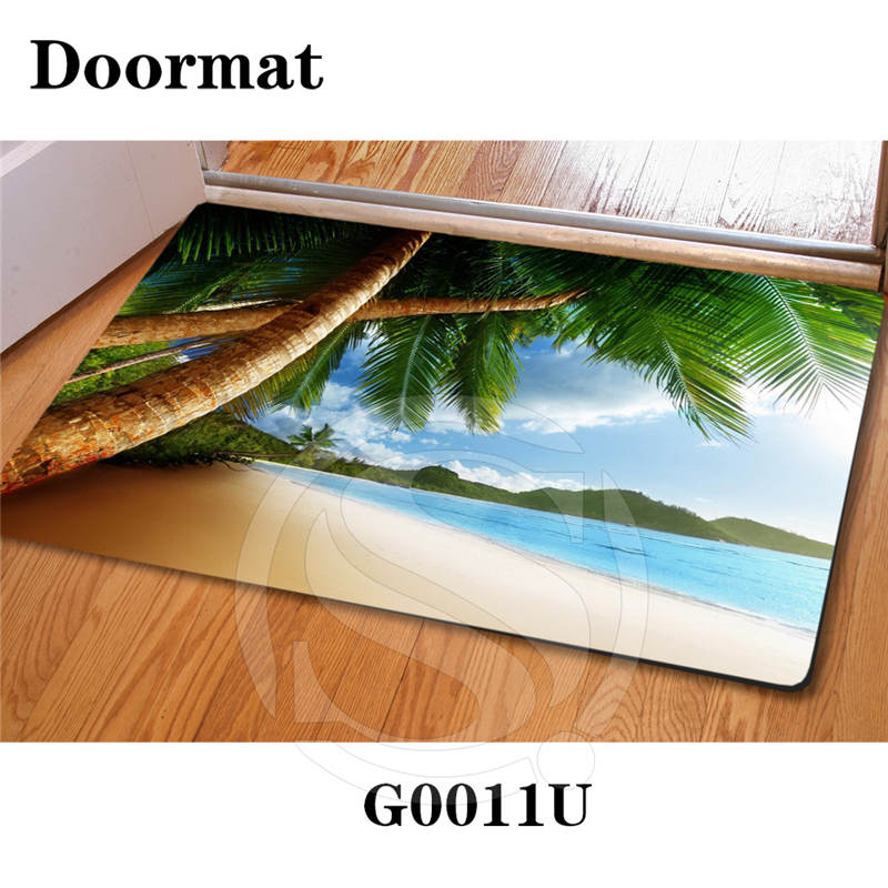 Free Shipping Custom Caribbean beach DoorMat Art Pattern Printed Carpet Floor Hall Bedroom Cool Pad Fashion Rug SQ0626-LWE8