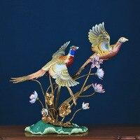 Роскошный пара Летающий Фениксы Скульптура керамические изделия Home Decor Ретро животного Медь декоративные статуэтки свадебные подарки
