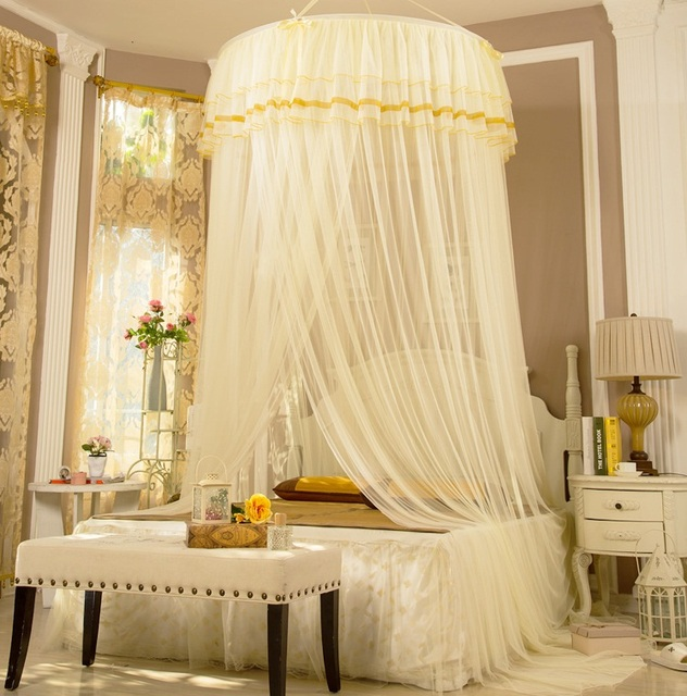Summer Brand New Dome Elegent Lace House Bed Netting Canopy Circular Mosquito Net White Mosquitera colorful & Summer Brand New Dome Elegent Lace House Bed Netting Canopy ...