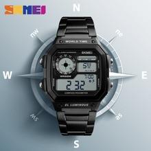 SKMEI Military Sports Watch Hombres Brújula Calorías Impermeable Relojes Correa Inoxidable Reloj de pulsera Cronógrafo Relogio Masculino