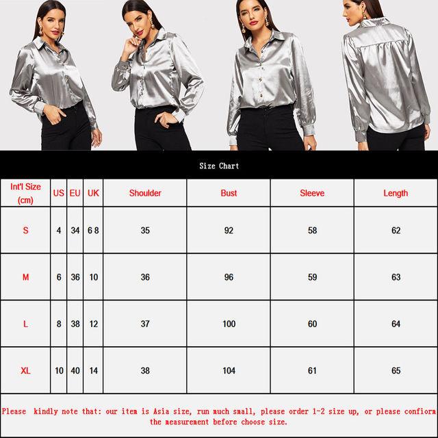 Women Long Sleeve V-neck Loose Tops Shirt Office Ladies Plain Color Satin Silk Ice Silk Silver Shirt Casual Button Blouse